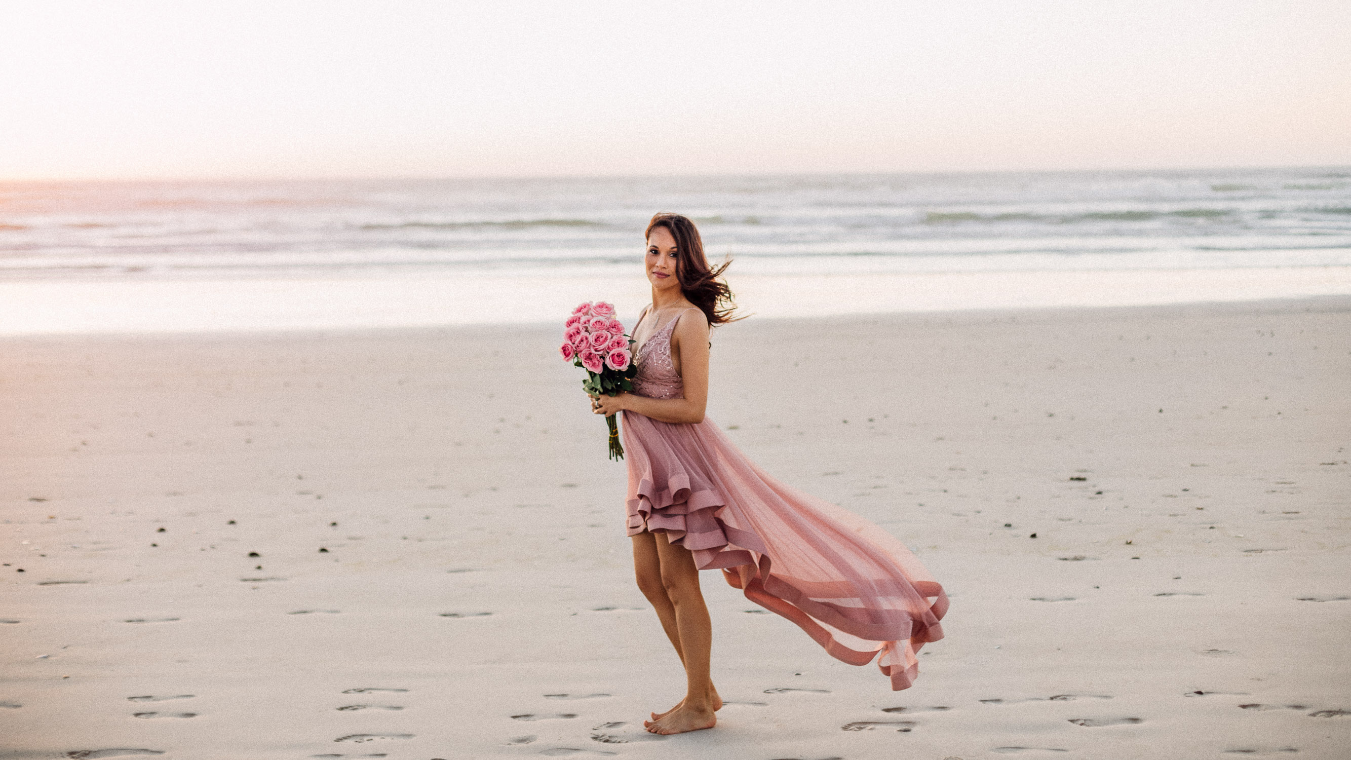 pink tulle bridesmaid on the beach in yzerfontein